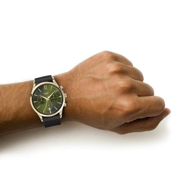 Henry London HL41-CS-0106 Men's Chiswick Chronograph Date Leather Strap Watch, Black/Dark Green