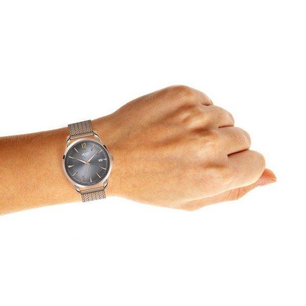 Henry London HL39-M-0118 Women's Finchley Date Bracelet Strap Watch, Rose Gold/Grey