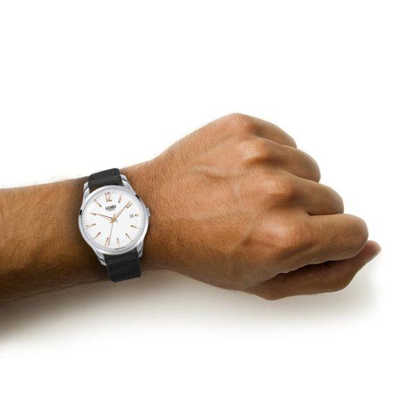Henry London HL39-S-0005 Unisex Highgate Date Leather Strap Watch, Black/White