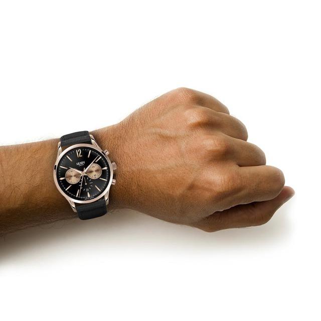 Henry London HL41-CS-0042 Men's Richmond Chronograph Date Leather Strap Watch, Black