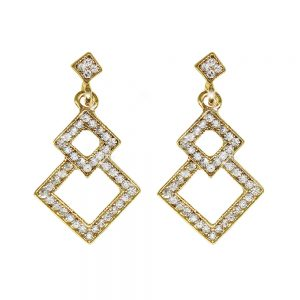 Gold Earrings Triangles Stone Set
