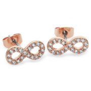 Stone Set Infinity Stud Earrings Rose Gold