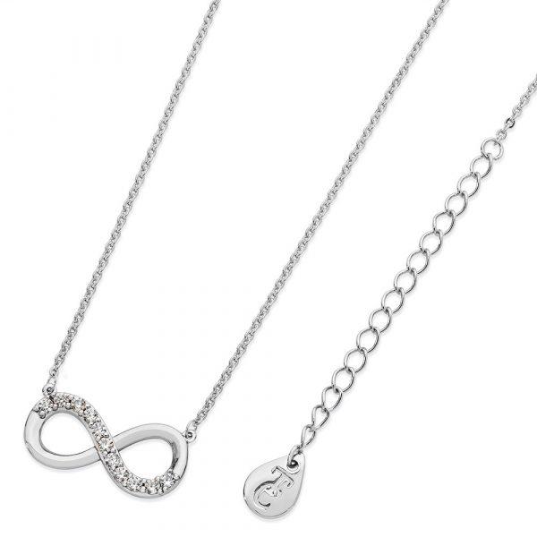 Part Stone Set Infinity Pendant Silver