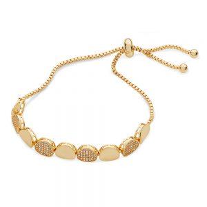 Plain & Pave Pebble Bracelet - Yellow Gold