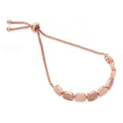 Plain & Pave Pebble Bracelet - Rose Gold