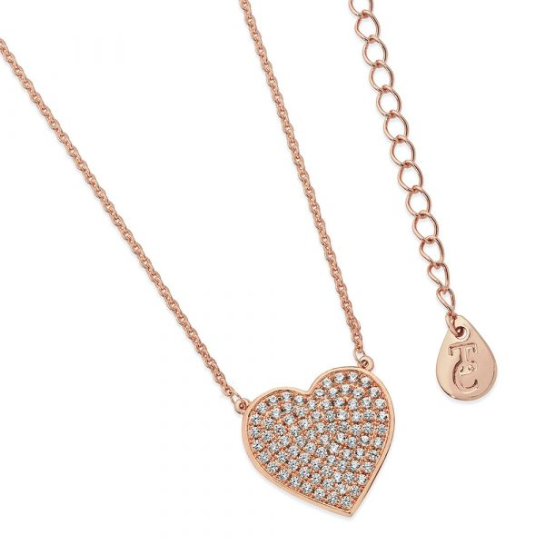 Pave Heart Pendant Rose Gold