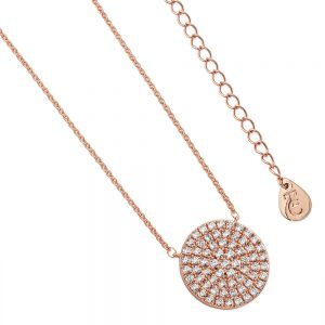 Pave Full Moon Pendant Rose Gold
