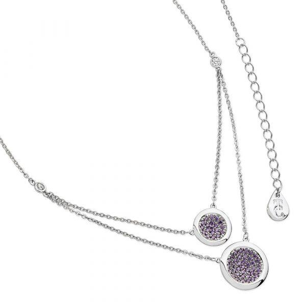 Lavendar Double Moon Drop Pendant Silver