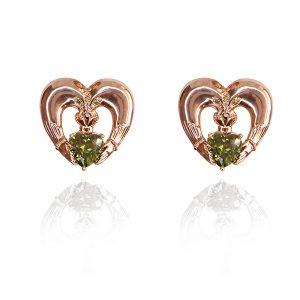 Maureen O'Hara Rose Gold Claddagh Earrings